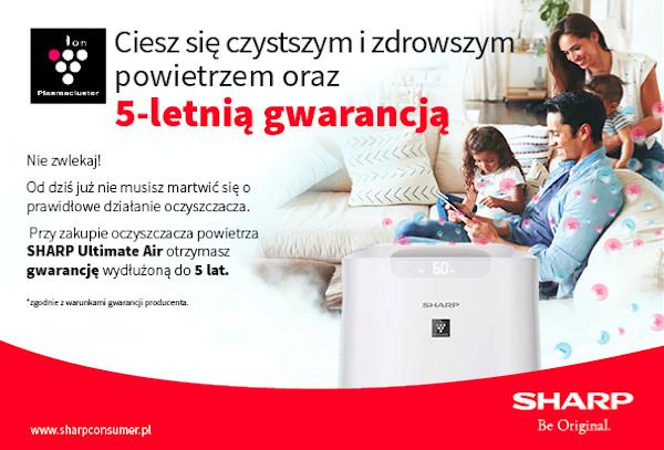 5 lat Gwarancji na oczyszczacze powietrza SHARP UA-KIL80E-W i UA-KIL60E-W